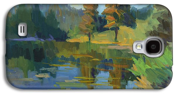 Waterscape Paintings Galaxy S4 Cases - Late Afternoon Light at Harrys Pond Galaxy S4 Case by Diane McClary