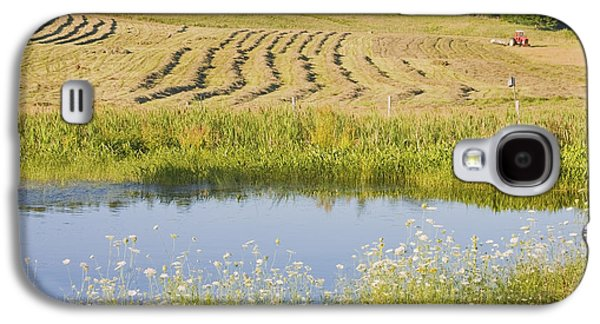 Maine Meadow Galaxy S4 Cases - Late Summer Hay Being Harvested In Maine Canvas Poster Print Galaxy S4 Case by Keith Webber Jr