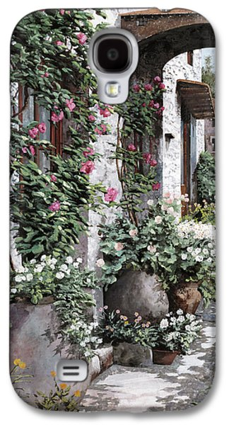 Vase Paintings Galaxy S4 Cases - Le Rose Rampicanti Galaxy S4 Case by Guido Borelli