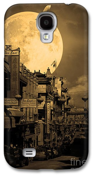 Snowy Night Night Galaxy S4 Cases - Legend of The Great White Phoenix of Chinatown . 7D7172 . Sepia Galaxy S4 Case by Wingsdomain Art and Photography