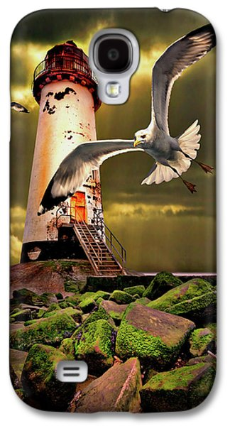 Seabirds Galaxy S4 Cases - Lighthouse With Seagulls Galaxy S4 Case by Meirion Matthias