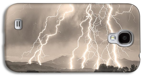 Landscape Acrylic Prints Galaxy S4 Cases - Lightning Striking Longs Peak Foothills 4CBWSepia Galaxy S4 Case by James BO  Insogna