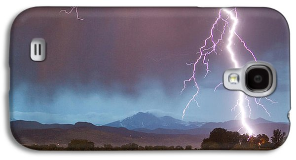 Landscape Acrylic Prints Galaxy S4 Cases - Lightning Striking Longs Peak Foothills 5 Crop Galaxy S4 Case by James BO  Insogna