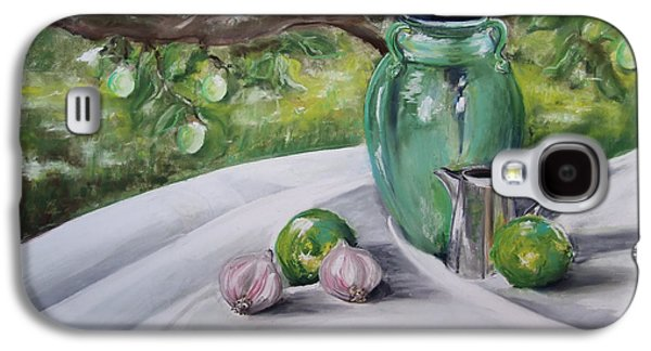 Still Life Pastels Galaxy S4 Cases - Limes and Mirabelles Galaxy S4 Case by Marie-Claire Dole