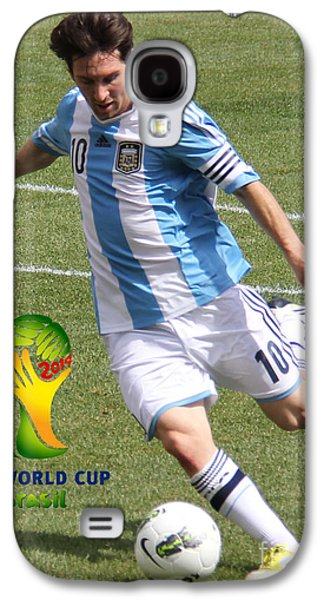 Clash Of Worlds Galaxy S4 Cases - Lionel Messi Kicking V FIFA World Cup 2014 Galaxy S4 Case by Lee Dos Santos