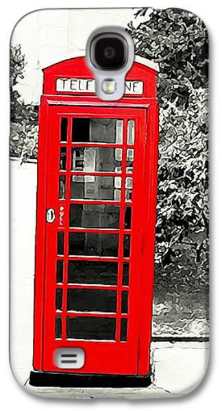 Lamp Post Mixed Media Galaxy S4 Cases - Londons Red Booth Galaxy S4 Case by Lauranns Etab