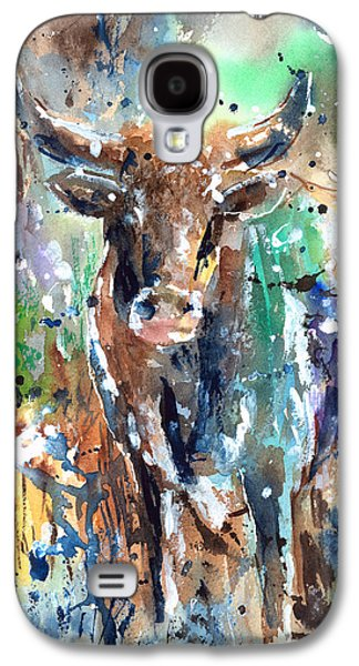 Steer Paintings Galaxy S4 Cases - Longhorn Steer Galaxy S4 Case by Arline Wagner