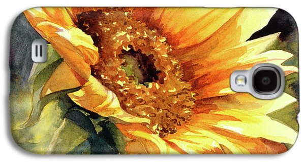 Sunflower Paintings Galaxy S4 Cases - Looking to the Sun Galaxy S4 Case by Bonnie Rinier