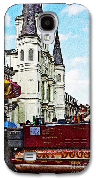 Lucky Dogs Galaxy S4 Cases - Lucky Dogs and St. Louis Cathedral Galaxy S4 Case by Kathleen K Parker