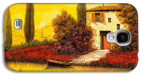 Yellow Paintings Galaxy S4 Cases - Lungo Il Fiume Tra I Papaveri Galaxy S4 Case by Guido Borelli
