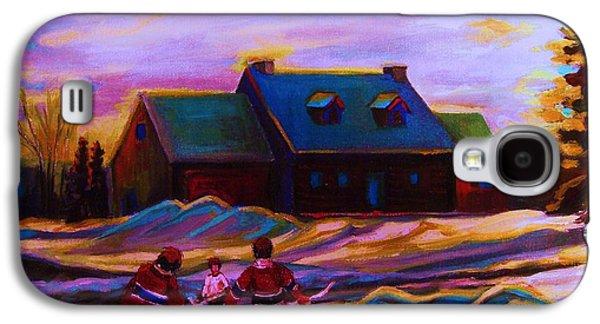 Streethockey Paintings Galaxy S4 Cases - Magical Day For Hockey Galaxy S4 Case by Carole Spandau