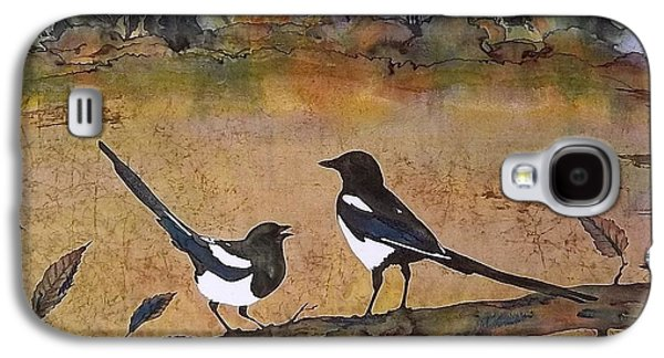 Animals Tapestries - Textiles Galaxy S4 Cases - Magpies in the last of Autumns Leaves Galaxy S4 Case by Carolyn Doe