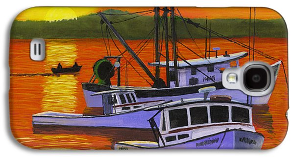 Maine Landscapes Paintings Galaxy S4 Cases - Maine Fishing Boats at Sunset Port Clyde Painting Galaxy S4 Case by Keith Webber Jr