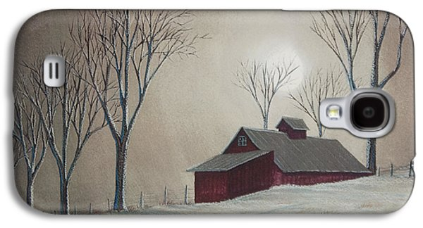 New England Snow Scene Paintings Galaxy S4 Cases - Majestic Winter Night Galaxy S4 Case by Charlotte Blanchard