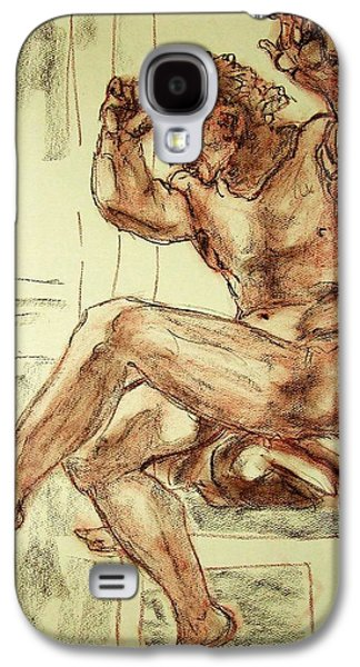 Sepia Chalk Galaxy S4 Cases - Male Nude Figure Drawing Sketch with Power Dynamics Struggle Angst Fear and Trepidation in Charcoal Galaxy S4 Case by MendyZ M Zimmerman