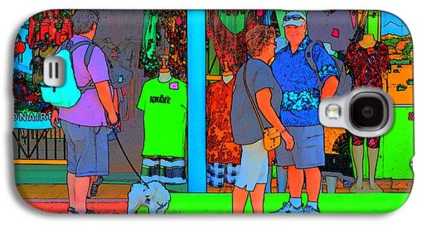 Dog Walking Digital Galaxy S4 Cases - Man With Dog Galaxy S4 Case by Richard Ortolano