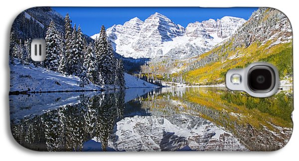 Snow Capped Galaxy S4 Cases - Maroon Lake and Bells 1 Galaxy S4 Case by Ron Dahlquist - Printscapes