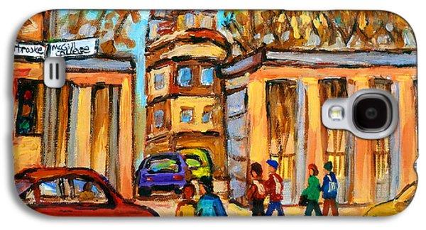 Montreal Land Marks Paintings Galaxy S4 Cases - Mcgill Roddick Gates Galaxy S4 Case by Carole Spandau
