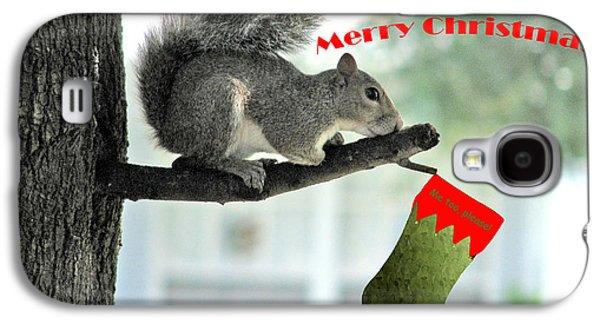 Squirrel Digital Art Galaxy S4 Cases - Merry Christmas To All Galaxy S4 Case by Adele Moscaritolo