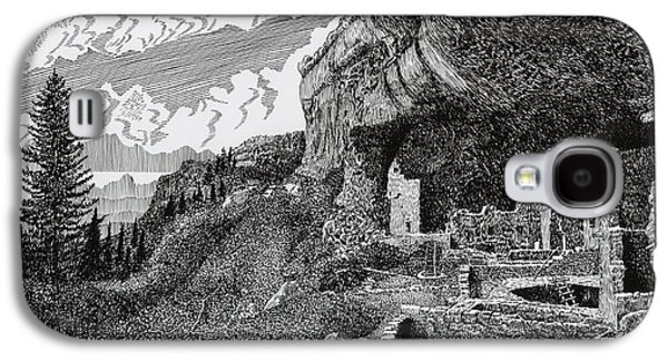 Pen And Ink Framed Prints Galaxy S4 Cases - Mesa Verde Cliff Dwellings Galaxy S4 Case by Jack Pumphrey