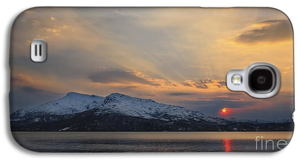 Sunset In Norway Galaxy S4 Cases - Midnight Sun Over Tjeldsundet Strait Galaxy S4 Case by Arild Heitmann