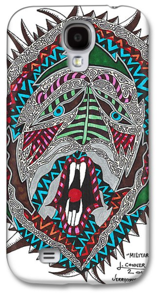 Abstract Seascape Drawings Galaxy S4 Cases - Military Advisor Galaxy S4 Case by Jerry Conner