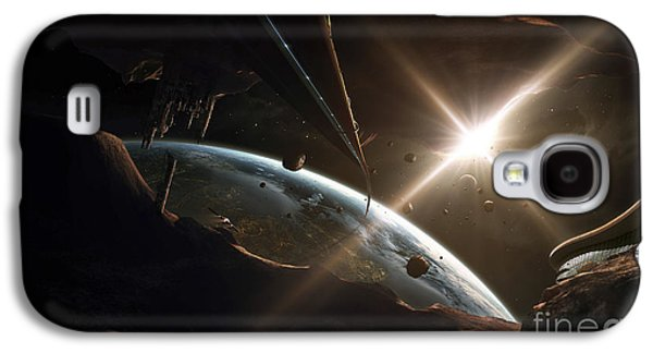 Planetoid Galaxy S4 Cases - Mining Colony On An Asteroid Galaxy S4 Case by Tobias Roetsch