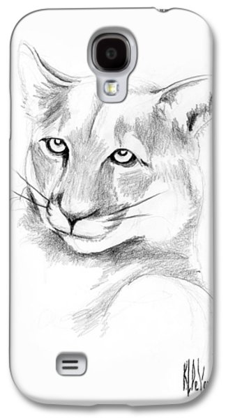 Bobcats Drawings Galaxy S4 Cases - Missouri Mountain Lion  Galaxy S4 Case by Kip DeVore