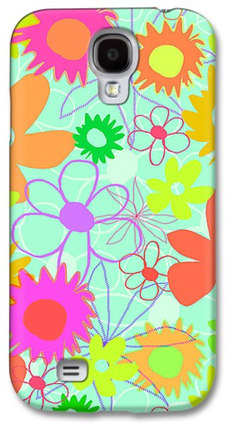 Louisa Galaxy S4 Cases - Mixed Flowers Galaxy S4 Case by Louisa Knight