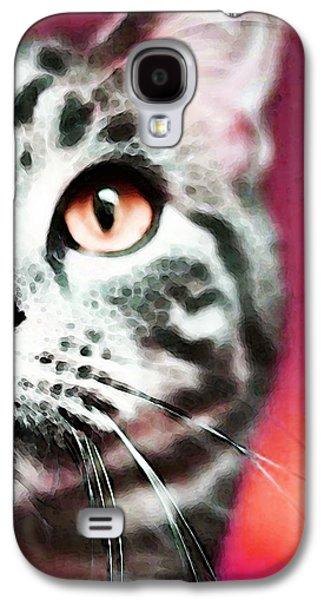Animal Lover Digital Art Galaxy S4 Cases - Modern Cat Art - Zebra Galaxy S4 Case by Sharon Cummings