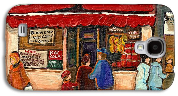 Montreal Street Life Paintings Galaxy S4 Cases - Montreal Hebrew Delicatessen Schwartzs By Montreal Streetscene Artist Carole Spandau Galaxy S4 Case by Carole Spandau