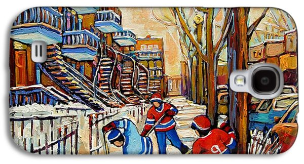 Montreal Street Life Paintings Galaxy S4 Cases - Montreal Hockey Game With 3 Boys Galaxy S4 Case by Carole Spandau