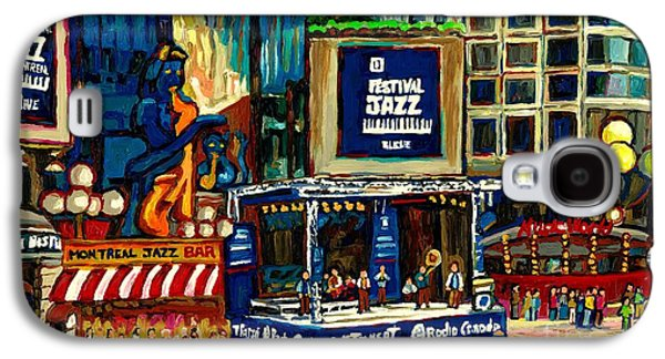 Montreal Streetscenes Paintings Galaxy S4 Cases - Montreal International Jazz Festival Galaxy S4 Case by Carole Spandau