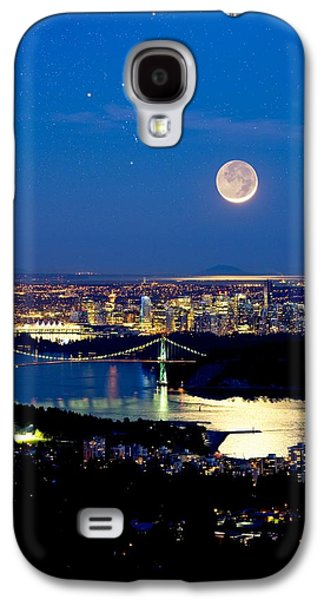 Burrard Inlet Galaxy S4 Cases - Moon Over Vancouver, Time-exposure Image Galaxy S4 Case by David Nunuk