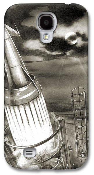 Observer Photographs Galaxy S4 Cases - Moon Rocket Launch, 1950s Artwork Galaxy S4 Case by Detlev Van Ravenswaay