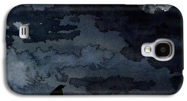 Crows Paintings Galaxy S4 Cases - Moonlit Raven Galaxy S4 Case by Brazen Edwards