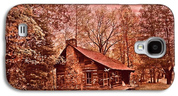 Log Cabin Photographs Galaxy S4 Cases - Moonshine Galaxy S4 Case by Debra and Dave Vanderlaan