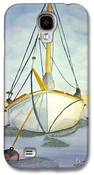 Sailboats Drawings Galaxy S4 Cases - Moored at Sea Galaxy S4 Case by Eva Ason