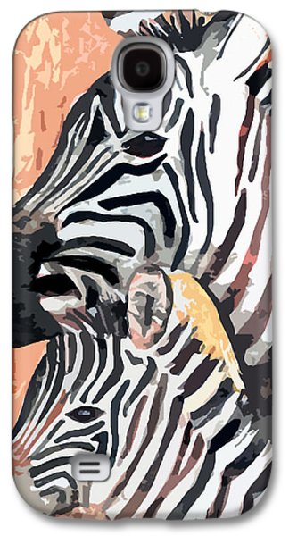 Zebra Digital Art Galaxy S4 Cases - Mother And Baby Galaxy S4 Case by Arline Wagner
