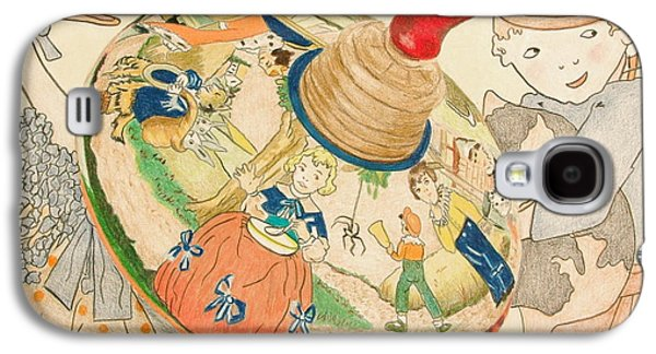 Mother Goose Galaxy S4 Cases - Mother Goose Spinning Top Galaxy S4 Case by Glenda Zuckerman