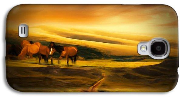 Feeding Photographs Galaxy S4 Cases - Mountain Horses Galaxy S4 Case by Lourry Legarde