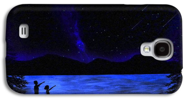 Milky Way Paintings Galaxy S4 Cases - Mountain Lake Glow in the Dark Mural Galaxy S4 Case by Frank Wilson