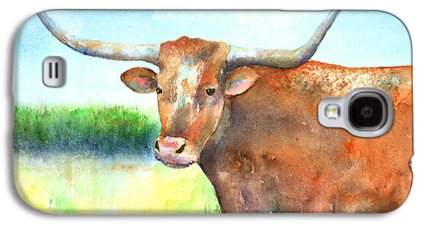 Steer Paintings Galaxy S4 Cases - Mr. Longhorn Galaxy S4 Case by Arline Wagner