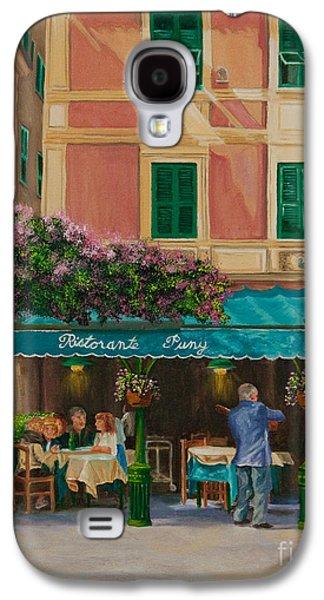 Portofino Cafe Galaxy S4 Cases - Musicians Stroll In Portofino Galaxy S4 Case by Charlotte Blanchard