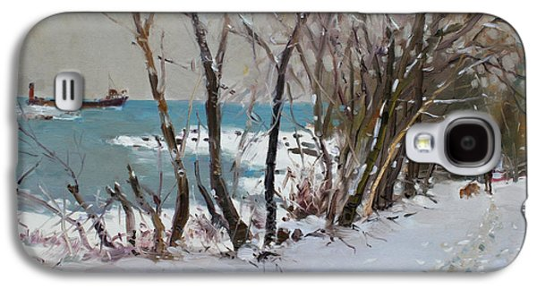 Trees In Snow Galaxy S4 Cases - Naked Trees by the Lake Shore Galaxy S4 Case by Ylli Haruni