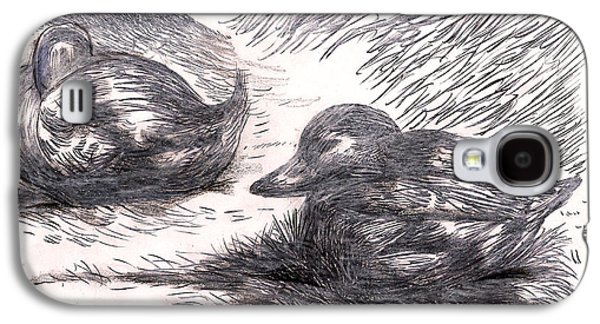 Behind The Scenes Drawings Galaxy S4 Cases - Nesting Mallards Galaxy S4 Case by Al Goldfarb