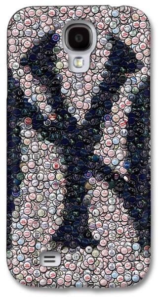 News Mixed Media Galaxy S4 Cases - New York Yankees Bottle Cap Mosaic Galaxy S4 Case by Paul Van Scott