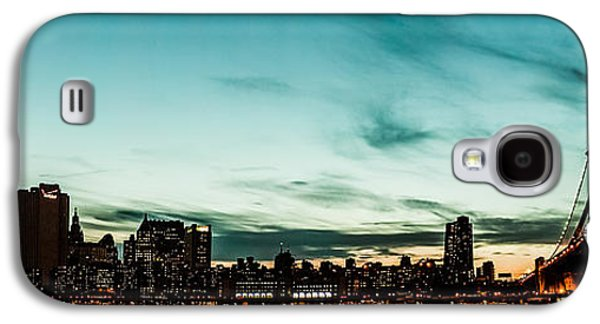 Manhatten Galaxy S4 Cases - New Yorks skyline at night ice 1 Galaxy S4 Case by Hannes Cmarits