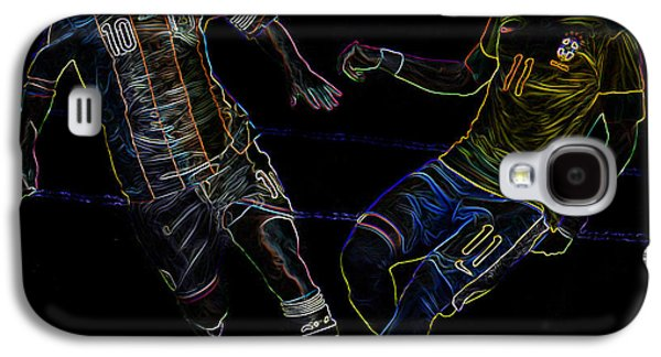 Clash Of Worlds Galaxy S4 Cases - Neymar and Lionel Messi Clash of the Titans Neon Galaxy S4 Case by Lee Dos Santos