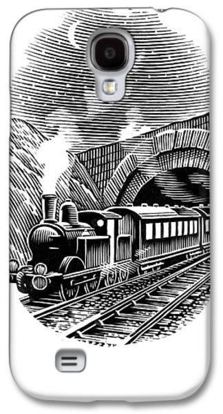 Linocut Galaxy S4 Cases - Night Train, Artwork Galaxy S4 Case by Bill Sanderson